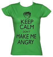 Ladies Green Keep Calm Don't Make Me Angry Incredible Hulk T-Shirt