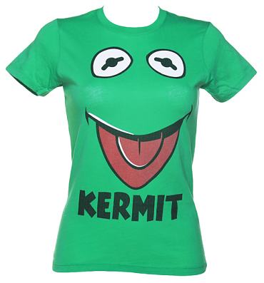 Ladies Green Kermit Face Muppets T-Shirt