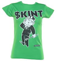 Ladies Green Monopoly Skint T-Shirt