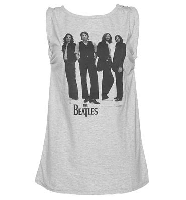 Ladies Grey 1969 Beatles Photographic Print Rolled Sleeve Vest