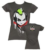 Ladies Grey Batman Joker Graffiti T-Shirt