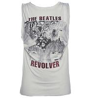 Ladies Grey Beatles Revolver Oil Wash Foil Print Rolled Sleeve T-Shirt