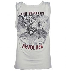 Ladies Grey Beatles Revolver Oil Wash Foil Print Rolled Sleeve T-Shirt [View details]