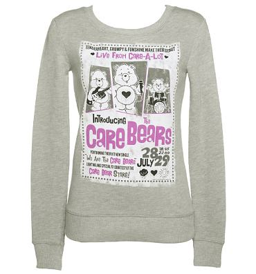 Ladies Grey Care Bears In Concert Sweater