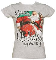 Ladies Grey Coca-Cola Santa Sparkling Holidays T-Shirt