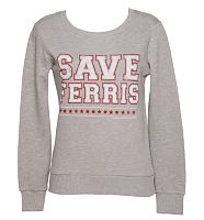 Ladies Grey Ferris Bueller's Day Off Save Ferris Sweater