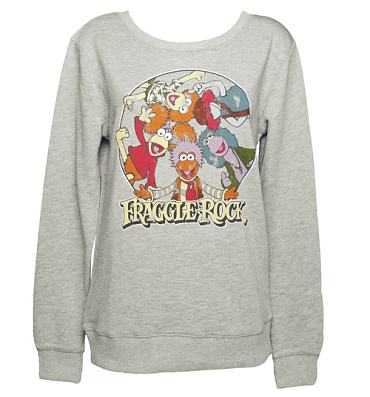 Ladies Grey Fraggle Rock Characters Sweater