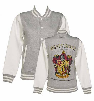 Ladies Grey Harry Potter Gryffindor Team Quidditch Varsity Jacket