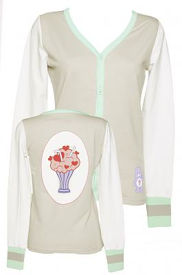 Ladies Grey Ice Cream Sundae Care Bears Button Up Varsity