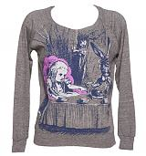 Ladies Grey Marl Alice In Wonderland By Lewis Carol Long Sleeve Raglan Pullover from Out Of Print