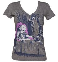 Ladies Grey Marl Alice In Wonderland Sketch V-Neck T-Shirt from Out Of Print