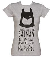 Ladies Grey Marl DC Comics Batman Slogan T-Shirt