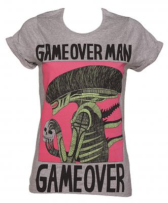 Ladies Grey Marl Game Over Boyfriend T-Shirt from Illustrated Mind