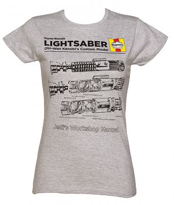 Ladies Grey Marl Haynes Manual Light Saber Technical Drawing Star Wars T-Shirt
