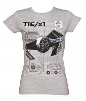 Ladies Grey Marl Haynes Manual Tie /x1 Star Wars T-Shirt