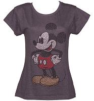 Ladies Grey Marl Premium Scoop Neck Diamante Mickey Mouse T-Shirt from Fabric Flavours