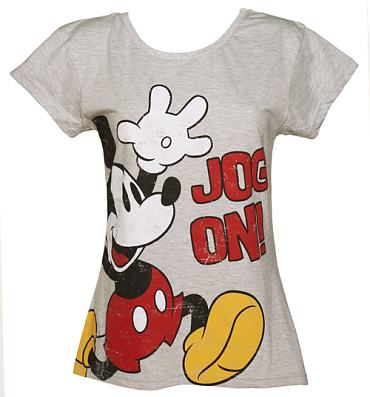 Ladies Grey Marl Scoop Neck Jog On Mickey Mouse T-Shirt from Fabric Flavours