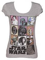 Ladies Grey Marl Scoop Neck Star Wars Characters T-Shirt
