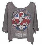 Ladies Grey Marl Slouchy Grateful Dead T-Shirt from Chaser LA