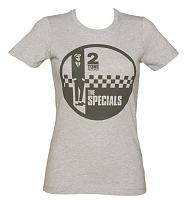Ladies Grey Marl Specials Two Tone Records Logo T-Shirt from Dirty Cotton Scoundrels