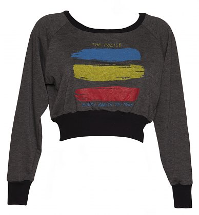 Ladies Grey Marl The Police Every Breath Cropped Sweater