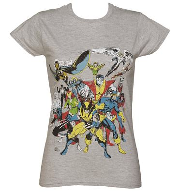 Ladies Grey Marl X-Men Ready For Battle Marvel T-Shirt
