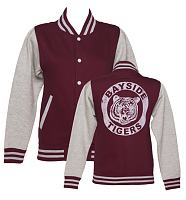 Ladies Grey Saved By The Bell Bayside Tigers Varsity Jacket