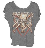 Ladies Grey Slouchy Scooped Neck Megadeth T-Shirt from Chaser LA