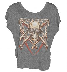 Ladies Grey Slouchy Scooped Neck Megadeth T-Shirt from Chaser LA [View details]