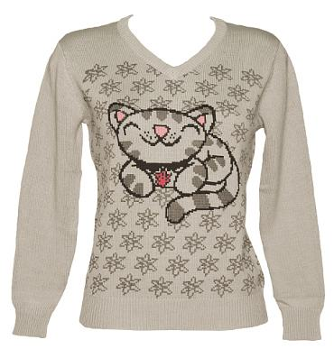 Ladies Grey Soft Kitty Big Bang Theory V-Neck Jumper