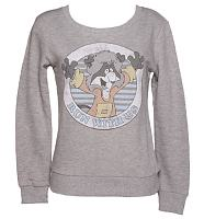 Ladies Grey The Raccoons Run With Us Sweater