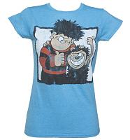 Ladies Heather Blue Dennis The Menace And Gnasher Beano T-Shirt