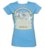 Ladies Heather Blue Rainbow Theme Tune T-Shirt