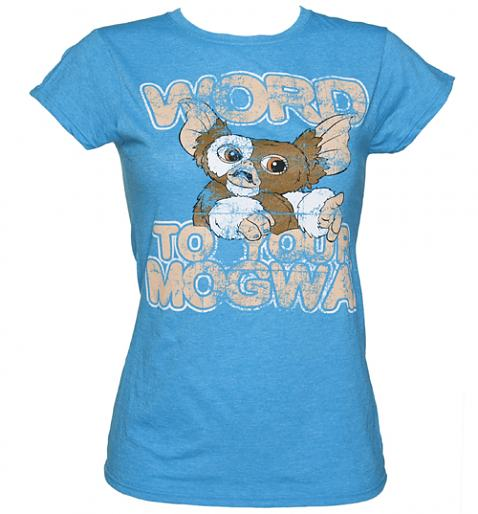 Ladies Heather Blue Word To Your Mogwai Gremlins T-Shirt from Sticks and Stones