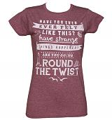 Ladies Heather Maroon Round The Twist Theme Tune T-Shirt