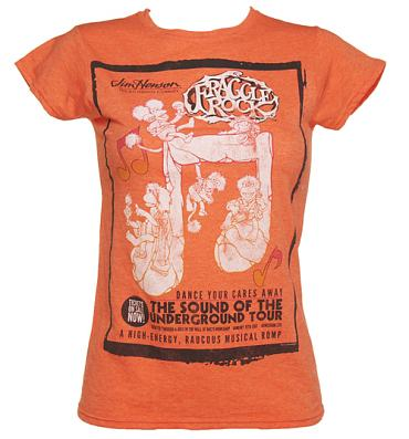 Ladies Heather Orange Fraggle Rock Dance Your Cares Away T-Shirt
