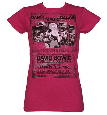 Ladies Heather Pink Dance Magic Dance Labyrinth Poster T-Shirt