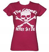 Ladies Heather Pink Goonies Never Say Die T-Shirt