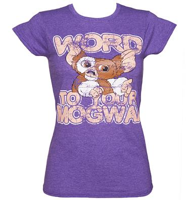Ladies Heather Purple Word To Your Mogwai Gremlins T-Shirt