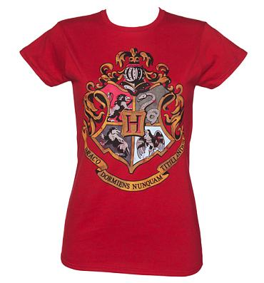 Ladies Heather Red Harry Potter Hogwarts Crest T-Shirt