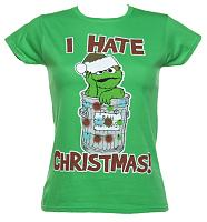 Ladies Oscar The Grouch I Hate Christmas Sesame Street T-Shirt