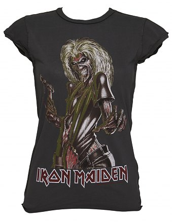 Ladies Iron Maiden Killer Charcoal TShirt from Amplified Vintage