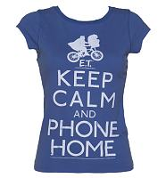 Ladies Blue Keep Calm And Phone Home E.T. Acid Wash Vintage T-Shirt