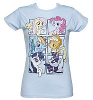 Ladies Light Blue My Little Pony Friendship Is Magic Group Shot T-Shirt