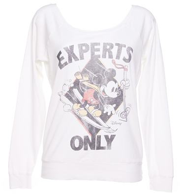 Ladies Mickey Mouse Experts Only Ski Off The Shoulder Sweater from Junk Food