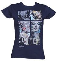 Ladies Navy 60's Icon Squares Design By Sidney Maurer T-Shirt