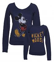 Ladies Navy Mickey Mouse Off The Shoulder Sweater from Junk Food
