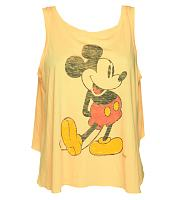 Ladies Orange Vintage Mickey Mouse Print Open Back Swing Vest from Junk Food