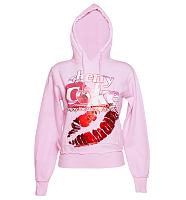 Ladies Pink Coke Kiss Foil Print Heavyweight Hoodie