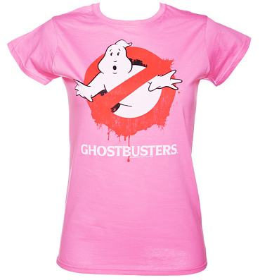 Ladies Pink Ghostbusters Dripping Logo T-Shirt